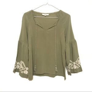Love Tree Olive Green Bell Sleeve Peasant Blouse S